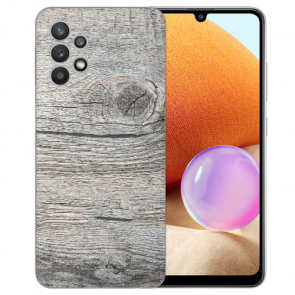 Samsung Galaxy A32 4G Schutzhülle Silikon TPU Bilddruck Holzoptik Grau