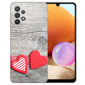 Samsung Galaxy A32 4G Schutzhülle Silikon TPU Bilddruck Herzen auf Holz