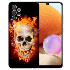 Samsung Galaxy A32 4G Schutzhülle Silikon TPU Fotodruck Totenschädel Feuer