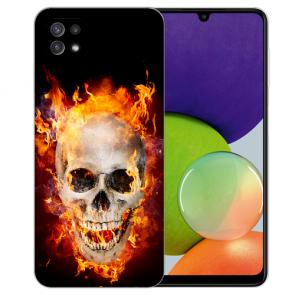 Samsung Galaxy A22 (5G) TPU Silikon Hülle mit Bilddruck Totenschädel Feuer