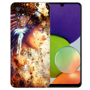 Samsung Galaxy A22 (5G) TPU Silikon Hülle mit Bilddruck Indianerin Porträt