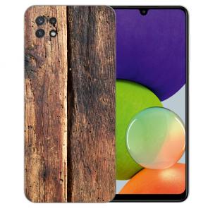 Samsung Galaxy A22 (5G) TPU Silikon Hülle mit Foto Druck Holzoptik