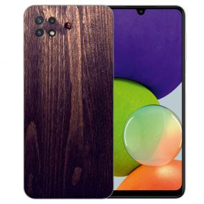 Samsung Galaxy A22 (5G) TPU Silikon Hülle mit Foto Druck Holzoptik dunkelbraun