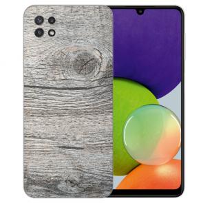 Samsung Galaxy A22 (5G) TPU Silikon Hülle mit Foto Druck Holzoptik Grau
