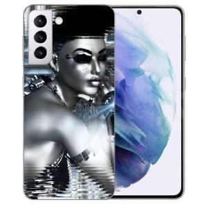 Samsung Galaxy S21 FE Silikon TPU Handy Hülle mit Fotodruck Robot Girl
