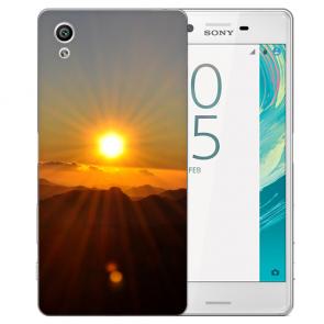 Sony Xperia X Silikon TPU Handy Hülle mit Fotodruck Sonnenaufgang