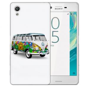 Silikon TPU Hülle mit Foto Druck Hippie Bus für Sony Xperia XA Etui