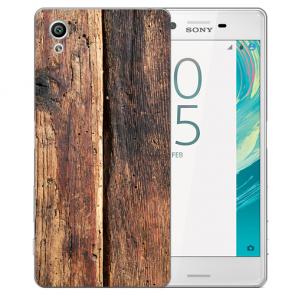 Silikon Handy Hülle mit Fotodruck HolzOptik für Sony Xperia X Etui