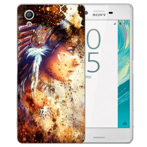 Silikon TPU Hülle mit Foto Druck Indianerin Porträt für Sony Xperia XA