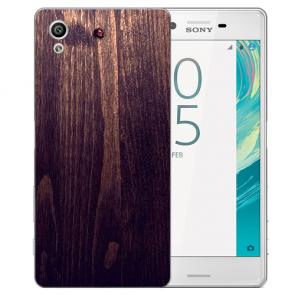 Sony Xperia X Silikon Handy Hülle mit Fotodruck HolzOptik Dunkelbraun