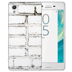 Sony Xperia X Schutz Hülle Handy Cover mit Weiße Mauer Fotodruck