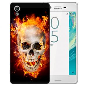 Sony Xperia X Silikon TPU Handy Hülle mit Fotodruck Totenschädel Feuer