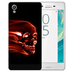 Sony Xperia X Silikon TPU Handy Hülle mit Fotodruck Totenschädel
