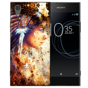 Sony Xperia L1 Silikon TPU Handy Hülle mit Indianerin Porträt Bild Druck