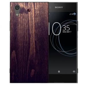 TPU Handy Hülle für Sony Xperia L1 mit Bild Druck HolzOptik Dunkelbraun