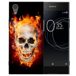 Sony Xperia L1 Silikon TPU Handy Hülle mit Bild Druck Totenschädel Feuer