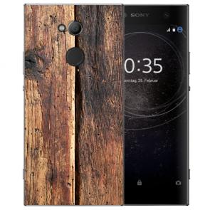 Sony Xperia L2 Handy Hülle Silikon TPU mit Fotodruck HolzOptik