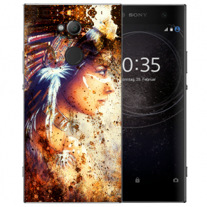 Sony Xperia L2 Handy Hülle Silikon TPU mit Fotodruck Indianerin Porträt