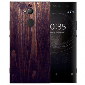 Sony Xperia L2 Handy Hülle TPU mit Fotodruck HolzOptik Dunkelbraun