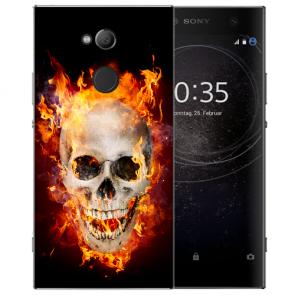 Sony Xperia XA2 Ultra Silikon TPU Hülle mit Totenschädel Feuer Bilddruck