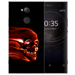 Sony Xperia XA2 Ultra Silikon TPU Hülle mit Totenschädel Bilddruck Etui