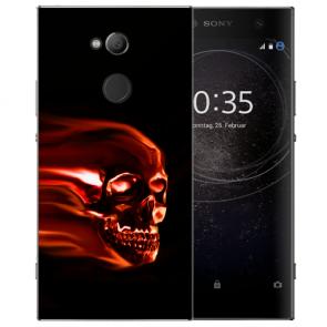 Handy Hülle Silikon TPU mit Fotodruck Totenschädel für Sony Xperia L2