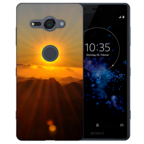 Sony Xperia XZ2 Compact Silikon TPU Hülle mit Fotodruck Sonnenaufgang