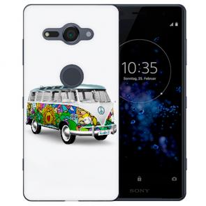 Sony Xperia XZ2 Compact Silikon TPU Hülle mit Fotodruck Hippie Bus