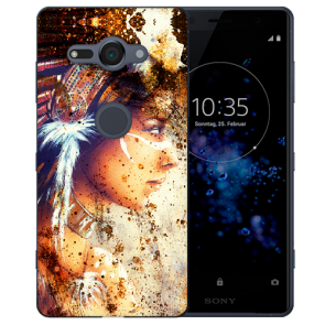 Sony Xperia XZ2 Compact TPU Hülle mit Fotodruck Indianerin Porträt
