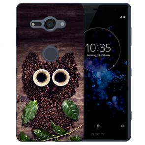 Sony Xperia XZ2 Compact Silikon Hülle mit Fotodruck Kaffee Eule