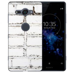 Sony Xperia XZ2 Compact TPU Silikon Hülle mit Fotodruck Weiße Mauer