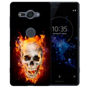 Sony Xperia XZ2 Compact TPU Hülle mit Fotodruck Totenschädel Feuer