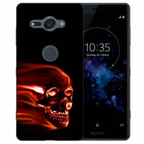 Sony Xperia XZ2 Compact Silikon Hülle mit Fotodruck Totenschädel