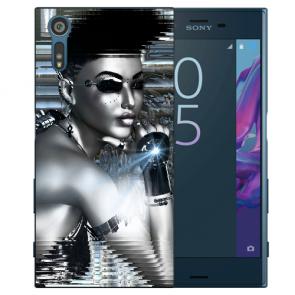 Sony Xperia XZS Silikon TPU Handy Hülle mit Robot Girl Fotodruck