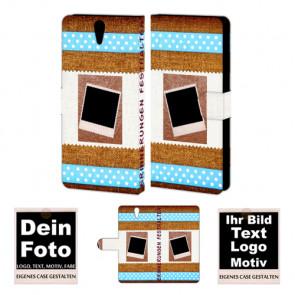 Ledertasche für Sony Xperia C5 mit Foto und Text zum selbst gestalten