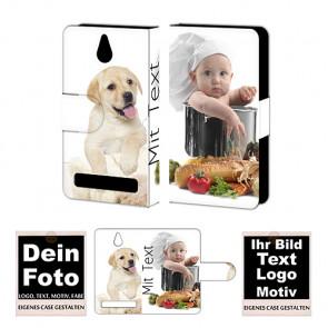 PU-Ledertasche für Sony Xperia E1 mit Foto und Text Druck Etui