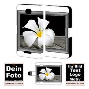Ledertasche für Sony Xperia E4 mit Foto und Text zum selbst gestalten