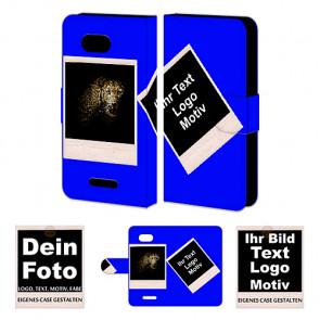 Schutzhülle Handytasche für Sony Xperia E4G mit Foto und Text Druck