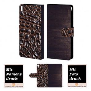 Sony Xperia E5 Holz - Croco Optik Handy Tasche Hülle Foto Bild Druck