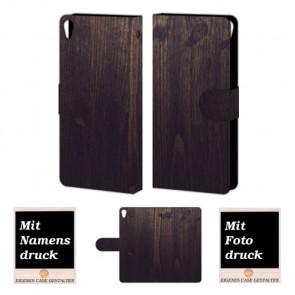 Schutzhülle Tasche Etui mit Holz Optik Fotodruck für Sony Xperia E5