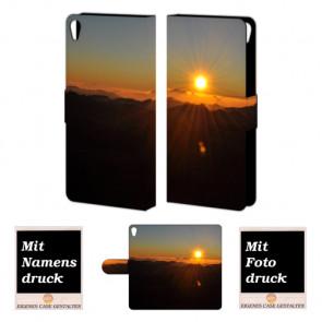 Handy Tasche Hülle mit Sonnenaufgang Bilddruck für Sony Xperia E5