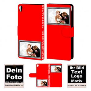 Personalisierte Handy Hülle für Sony Xperia E5 mit Foto und Text Druck