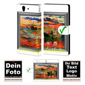 PU-Ledertasche Handyhülle für Sony Xperia Z mit Foto und Text Druck
