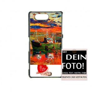 2D Hülle für Sony Xperia z3 mini Hard Case mit Foto und Text zum selbst gestalten.