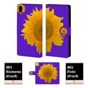Sony Xperia C6 Handy Tasche Hülle mit Sonnenblumen Bild Druck