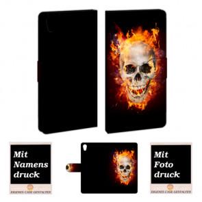 Sony Xperia Z4 Handy Tasche mit Totenschädel - Feuer Bild Druck