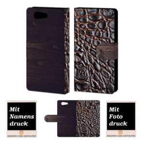 Sony Xperia Z4 Mini croco - Holz Optik Handy Tasche Hülle Foto Bild Druck