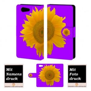 Sony Xperia Z4 Mini Handy Tasche Hülle mit Bild Druck Sonnenblumen