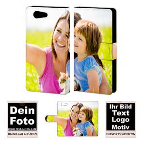 PU-Ledertasche für Sony Xperia Z4 Mini mit Foto und Text Druck