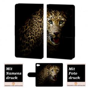 Sony Xperia Z5 Mini Schutzhülle Handy Tasche mit Leopard + Bild Druck